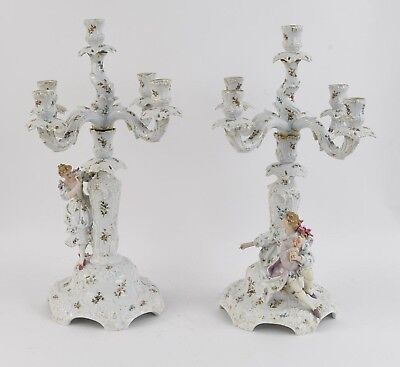 HUGE Dresden-Volkstedt Hand-Painted Porcelain 5-Arm Candelabras - A Pair.