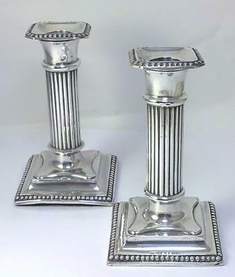 Pair of Victorian hallmarked Sterling Silver  12.5cm  Column Candlesticks – 1896