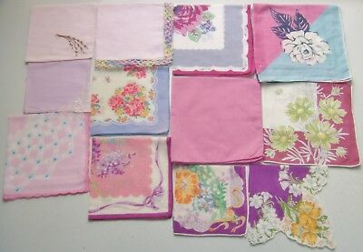 LOT of 12 purple true vintage handkerchiefs - floral, embroidered, solid