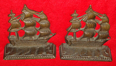 Pair of Vintage Bronze Bookends w/ Nautical Sailing Ships - Navy Naval Galleon