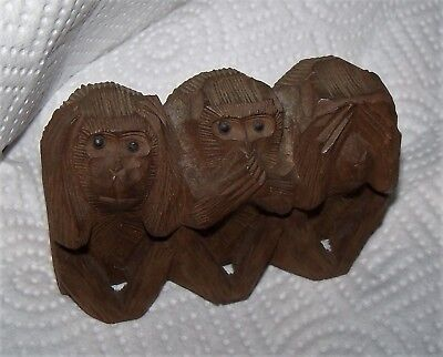 Vintage carved Three 3 Wise MONKEYS Hear Speak See No Evil WOOD carving statue