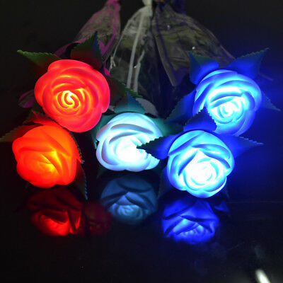 Light Up Rose Valentine's Wedding Mothers Day Glowing Flower Toy LED Gift Roses