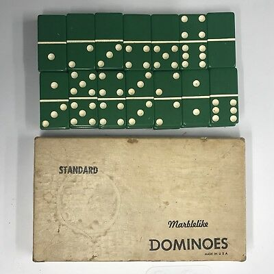 Vintage PUREMCO Dominoes Double Six MARBLELIKE EXTRA THICK NO. 616 BAYLOR GREEN