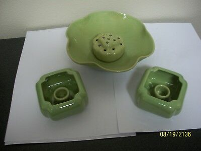 Rosemeade Chartreuse Fluted Bowl Flower Frog And Candle Holders 4 Pc