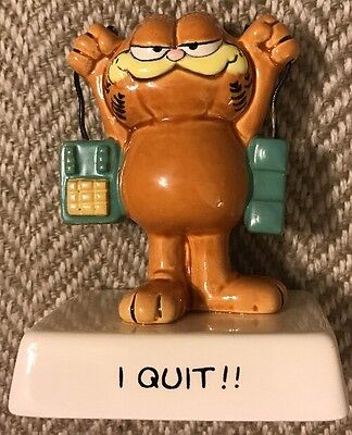 Rare vintage garfield cat i quit quote figurine ceramic figure enesco