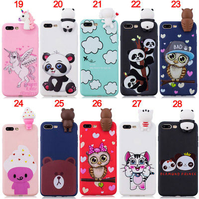 3D Unicorn Owl Silicone TPU Case Cover For iPhone 5S SE 6S 7 8 Plus X XR XS Max