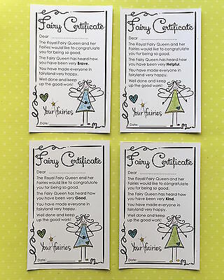 Fairy Certificates 4 pack  - Good, Kind, Helpful & Brave -  Blue / Green