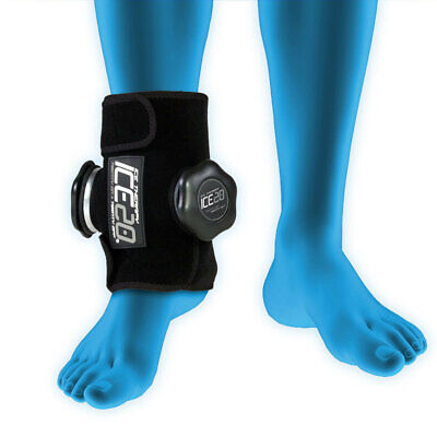 Ice20 Ice Therapy Double Ankle Cold Compression Wrap Pain Relief w/ Strap & Bag
