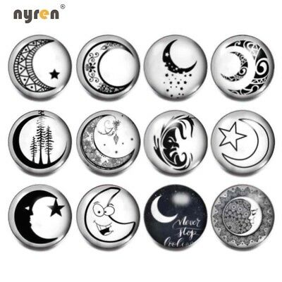 12pcs 18mm Snap Button Black&White Theme Glass Snap Charms For 20mm Snap Jewelry