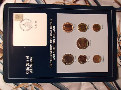 Coin Sets of All Nations Great Britain w/card UNC 1£, 1,2,5,10,20,50p 1985