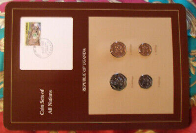 Coin Sets of All Nations Uganda w/card UNC 1987 1, 2, 5, 10 Shillings FDI stamp