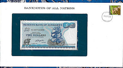Banknotes of All Nations Zimbabwe 2 Dollars 1980 P1a UNC Prefix AA