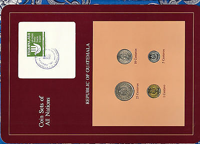 Coin Sets of All Nations Guatemala UNC 25 Centavos 1988 10,5,1 Cent. 1989