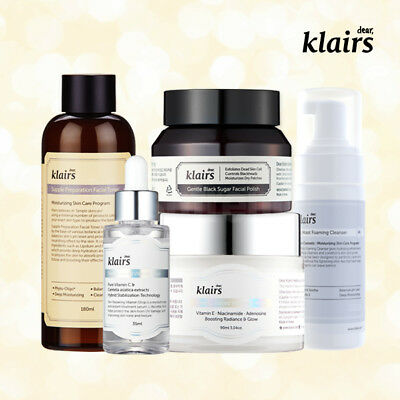 KLAIRS Freshly Juiced Brightening Package 5 items / exfoliate cleanse tone serum