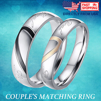 Couple's Matching Heart Ring, REAL Love His or Hers Wedding Band Promise Ring