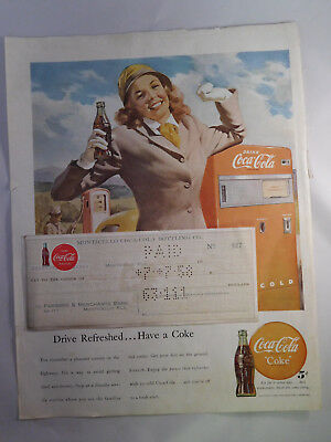 Vintage Coca-Cola 1948 Advertising  Sheet 1958 Stamped Employee Paycheck