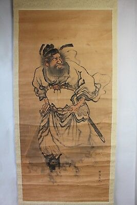 """Japanese hanging scroll Handpainted on Paper  """"A Warrior"""" a01"""