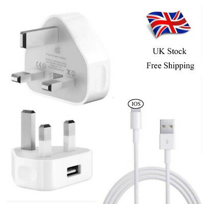 Charger UK Main Plug USB Sync Cable for Apple iOS iPhone 5 6 7 8 Plus X iPad Air
