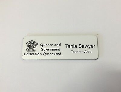Name Badge with logo + Pin Laserable Plastic 70 x 23mm