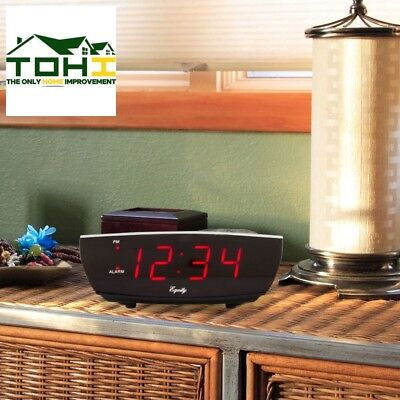 Electric Alarm Table Clock USB Port Red 0.9 in LED Digital Charging Decorative