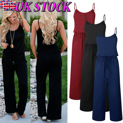 UK Womens Summer Casual Wide Leg Pants Sleeveless Straps Jumpsuit Long Playsuit