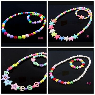 2pcs/set Children's Five-pointed star Jewelry Colorful Acrylic Beads Necklace