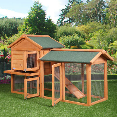 "58"" Chicken Coop Backyard Hen Wooden Rabbit House Wood Animal Hutch Cage w/Run"