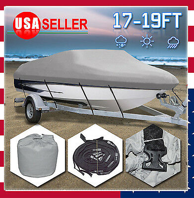 "17-19Ft 210D Heavy Duty Fabric Waterproof Trailable Boat Cover V-Hull 95"" Beam B"