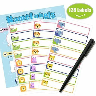 128PCS labels Kids School Name Stickers Labels Tag Waterproof Sticker Cartoon