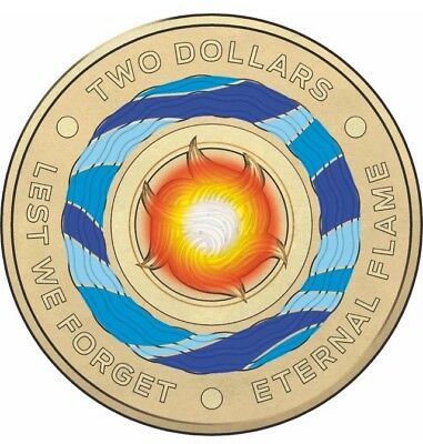 Australia 2018 Lest We Forget - Eternal Flame $2 Coloured Security Roll UNC