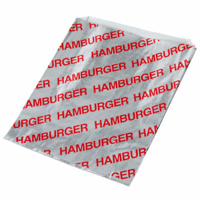 Printed Foil Hamburger Bags (100 Count) - Silver / Red