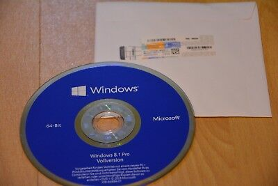 Windows 8.1 Pro 64 Bit DVD CD Vollversion + Win 8.1 Pro COA Aktivierung Key OEM