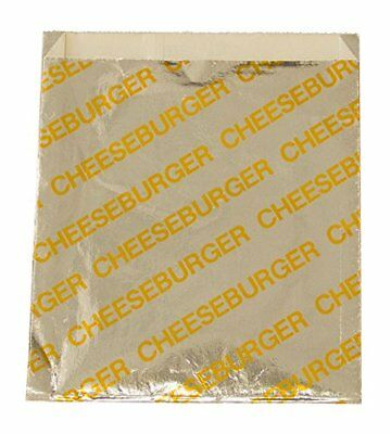 Printed Foil Cheeseburger Bags (100 Count) - Silver / Yellow