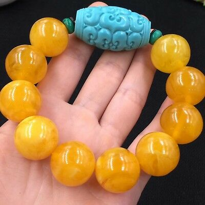 Baltic Amber stone butterscotch Yellow Beads Bracelet 20mm