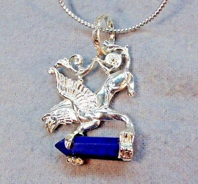 Old Stock Mythological Griffin Lapis Stone Sterling Silver 925 Pendant SkaisMA16