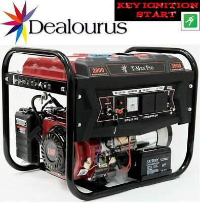 Portable Petrol Generator 6000W-E ~ 3.4 KVA 8HP ~ Quiet Power Electric Key Start