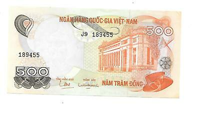 Vietnam Bank Note Paper Money  1972  500 Dong