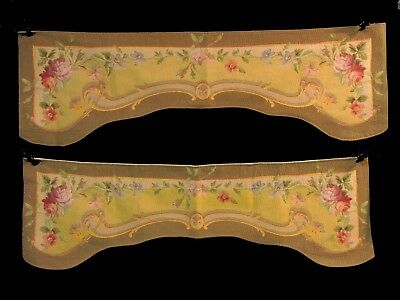 Pair Antique/Vintage French Woven Tapestry Pelmet Window Valances Goblys France