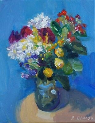 Peter Chorao Artist Original Oil Painting Flowers Vase Floral Still