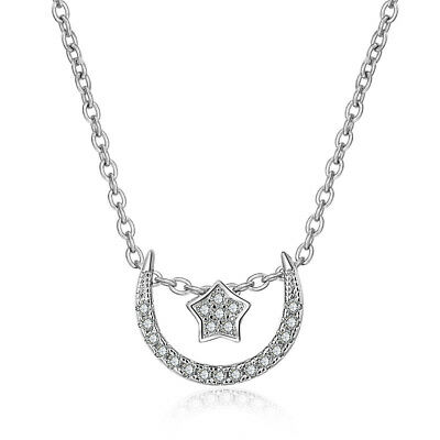 Crystals Star Moon Design 925 Sterling Silver Pendant Necklace For Women Gift
