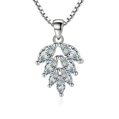 925 Sterling Silver Inlay Oval Zircon Leaf Pendnat Necklace For Mother's Day