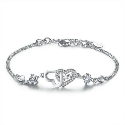 925 Sterling Silver Double Crystal Heart Bracelet For Women Valentine's Day