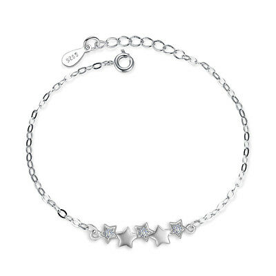 Solid 925 Sterling Silver Crystal Pentagram Star Chain Bracelet For Women Gift