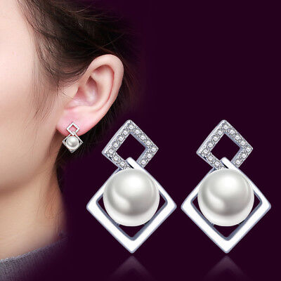 925 Sterling Silver Real Pearl Square Earrings Stud For Women Retro Jewelry