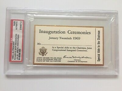 1969 PRESIDENT RICHARD NIXON INAUGURATION Ticket AIDE TO THE CHAIR PSA