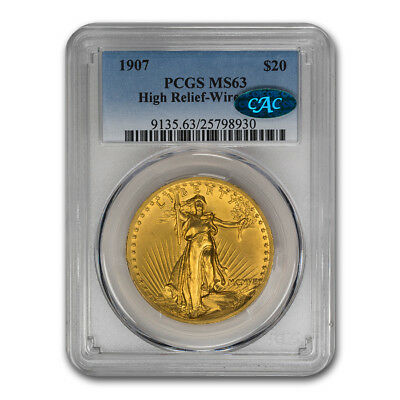 1907 $20 Saint-Gaudens Gold High Relief Wire Edge MS-63 PCGS CAC - SKU#166968