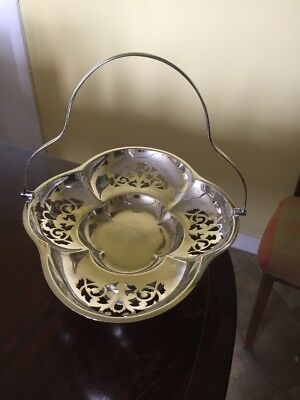 Large Antique Silver Plate Handled Dish/bonbon Tray