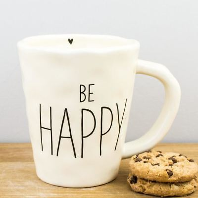 New Natural Life Be Happy Heart Cream Ceramic Gift Mug 300ml Coffee Cup
