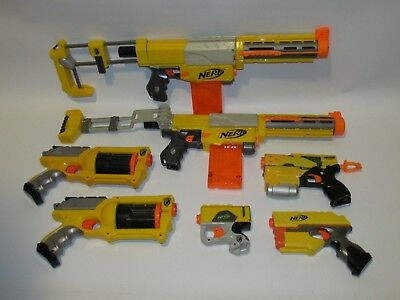 NERF N-Strike dart gun Lot of 7: RECON, MAVERICK, SINGLE SHOT + New DARTS, CLIPS