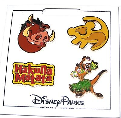 NEW Disney 4 Pin Icon Set✿Lion King Baby Simba Symbol Timon Pumbaa Hakuna Matata